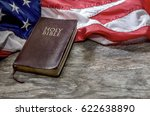 united states flag and bible on ... | Shutterstock . vector #622638890