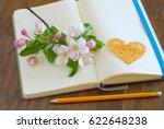 Small photo of Spring blossom on blank open notebook with pencil love message symbol. Romantic letter diary. Lovely flowers passion concept. Empty romance lyrics book.