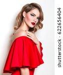 a beautiful slender young girl... | Shutterstock . vector #622656404