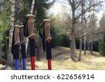 closeup of nordic walking poles ... | Shutterstock . vector #622656914
