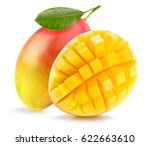mango with slices isolated on... | Shutterstock . vector #622663610