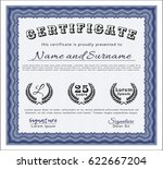 blue certificate template. with ... | Shutterstock .eps vector #622667204