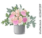 vase with bouquet of flowers... | Shutterstock .eps vector #622669289