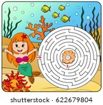 help mermaid find path to pearl.... | Shutterstock .eps vector #622679804