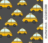 cartoon nyc taxi pattern. cute... | Shutterstock .eps vector #622681088