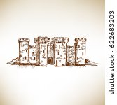 hand drawn medieval castle... | Shutterstock .eps vector #622683203