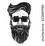 vector hipster man bearded face ... | Shutterstock .eps vector #622689980