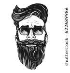 vector hipster man bearded face ... | Shutterstock .eps vector #622689986