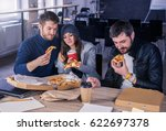 business team eating pizza and... | Shutterstock . vector #622697378