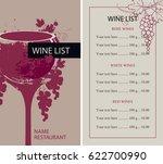 vector wine list with glass ... | Shutterstock .eps vector #622700990