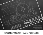 mechanical drawings on a  white ... | Shutterstock .eps vector #622701038