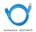 blue cable usb 3 to micro usb 3 ... | Shutterstock . vector #622714670