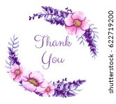thank you card with watercolor... | Shutterstock . vector #622719200