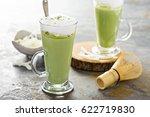 matcha latte with coconut milk... | Shutterstock . vector #622719830