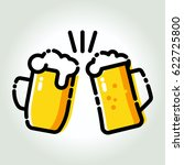 two mugs of beer toasting...   Shutterstock .eps vector #622725800