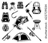 camping set of back pack ... | Shutterstock .eps vector #622729034