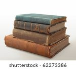 10 Stack of old books circa 1900 - stock photo