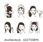 woman take care about her hair.... | Shutterstock .eps vector #622733894