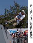 Small photo of MOSCOW, RUSSIA - JULY 8, 2012: Unidentified athlete in skateboarding competition during Adrenalin Games in Moscow. Adrenalin Games is the major international event in the field of extreme sports
