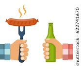 cooked hot fried sausage on... | Shutterstock .eps vector #622741670