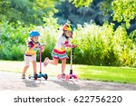 children learn to ride scooter... | Shutterstock . vector #622756220