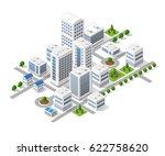 isometric 3d metropolis city... | Shutterstock .eps vector #622758620