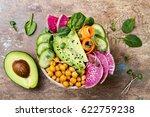 vegan  detox buddha bowl recipe ... | Shutterstock . vector #622759238