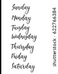 handwritten days of week.... | Shutterstock .eps vector #622766384