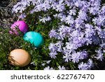 colored easter eggs hidden in... | Shutterstock . vector #622767470