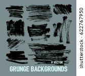 set of nine trendy black brush... | Shutterstock .eps vector #622767950