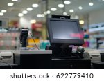 cash desk with large screen and ... | Shutterstock . vector #622779410