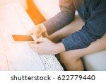 closeup of woman hands using... | Shutterstock . vector #622779440