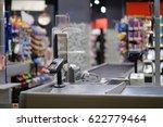empty cash desk with computer... | Shutterstock . vector #622779464
