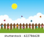 spring background with grass...   Shutterstock . vector #622786628