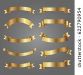 set of golden ribbons on gray... | Shutterstock .eps vector #622790954