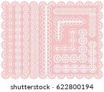 set of lace seamless ribbons or ... | Shutterstock .eps vector #622800194