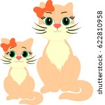 two cats big and small mother... | Shutterstock .eps vector #622810958