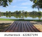one of the park bench seats at... | Shutterstock . vector #622827194