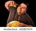 diet failure of fat man eating... | Shutterstock . vector #622827674