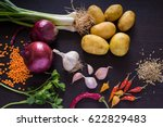 green onions  scallions  red... | Shutterstock . vector #622829483