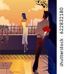 young and beautiful couple on... | Shutterstock .eps vector #622832180