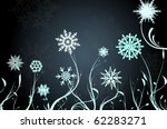 beautiful snow flowers on blue...