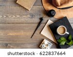 writer workplace with tools on...   Shutterstock . vector #622837664