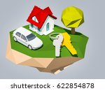 house and car concept. home...   Shutterstock . vector #622854878