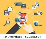hands holding smartphone and... | Shutterstock .eps vector #622856534