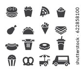 fast food icons  black edition  | Shutterstock .eps vector #622858100
