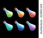 set of different color bottles...