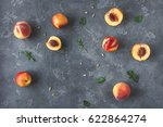 peaches on black background.... | Shutterstock . vector #622864274