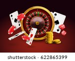 casino roulette with chips  red ... | Shutterstock .eps vector #622865399