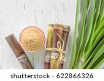 close up sugar cane on rustic...   Shutterstock . vector #622866326